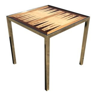 Hollywod Regency Brass and Burl Wood Backgammon Chess Game Table For Sale