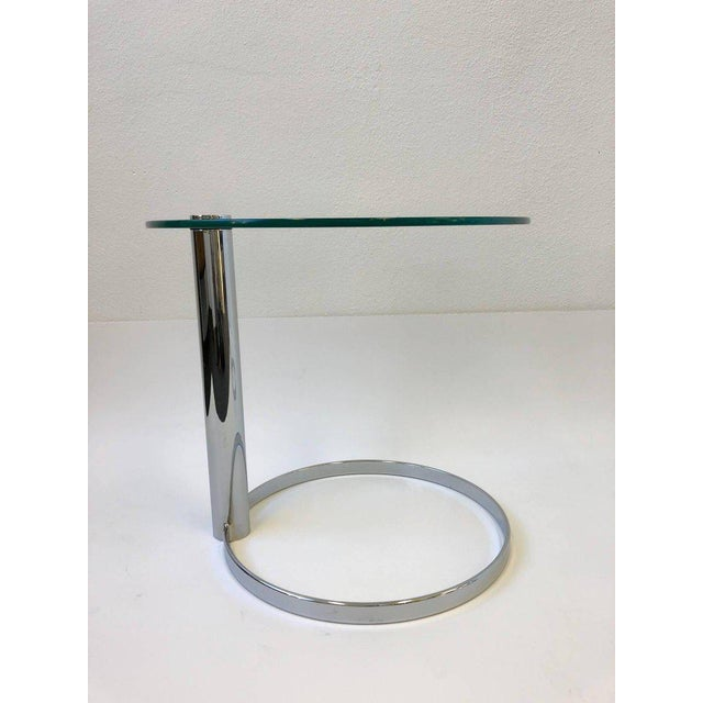 Silver Pair of Chrome and Glass Side Tables by John Mascheroni for Swaim For Sale - Image 8 of 10
