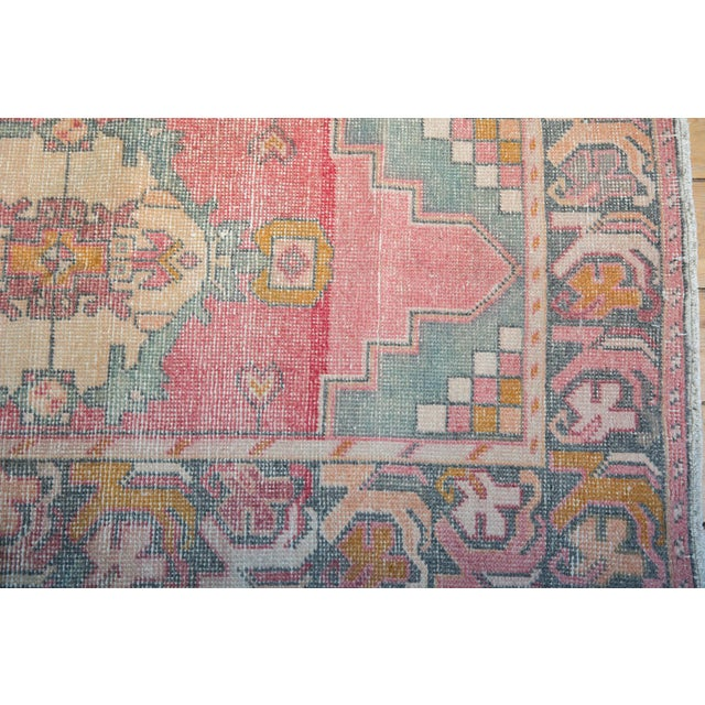 "Vintage Distressed Oushak Rug Runner - 3' X 9'8"" For Sale In New York - Image 6 of 12"