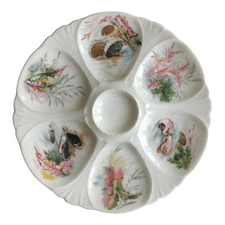 Limoges Porcelain Sea Life Oyster Plate For Sale