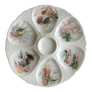 Limoges Porcelain Sea Life Oyster Plate
