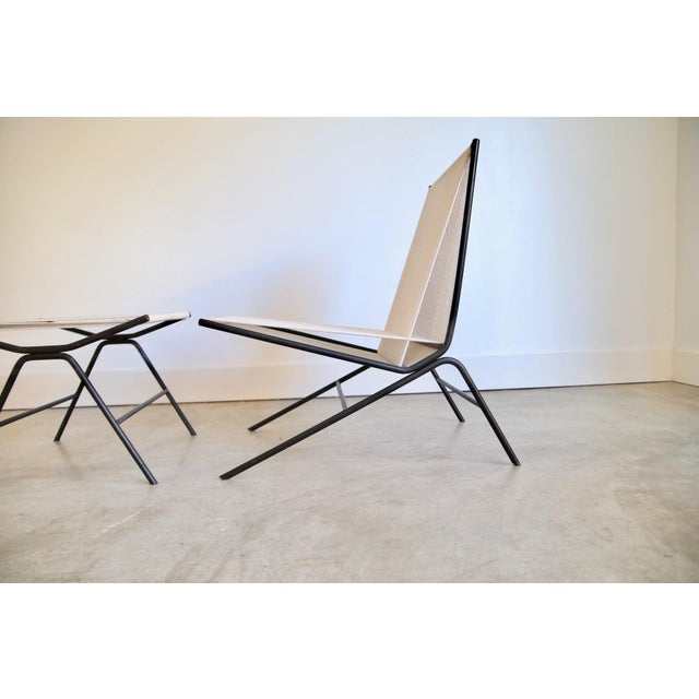1950s Allan Gould String Chair & Ottoman For Sale - Image 5 of 11