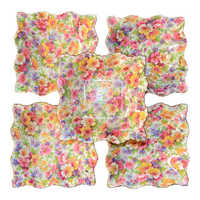 Vintage James Kent DuBarry Square Floral Chinitz Plates - Set of 5 For Sale
