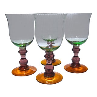 Late 20th Century Vintage Green, Amethyst & Orange Textured Goblets- Set of 4 For Sale
