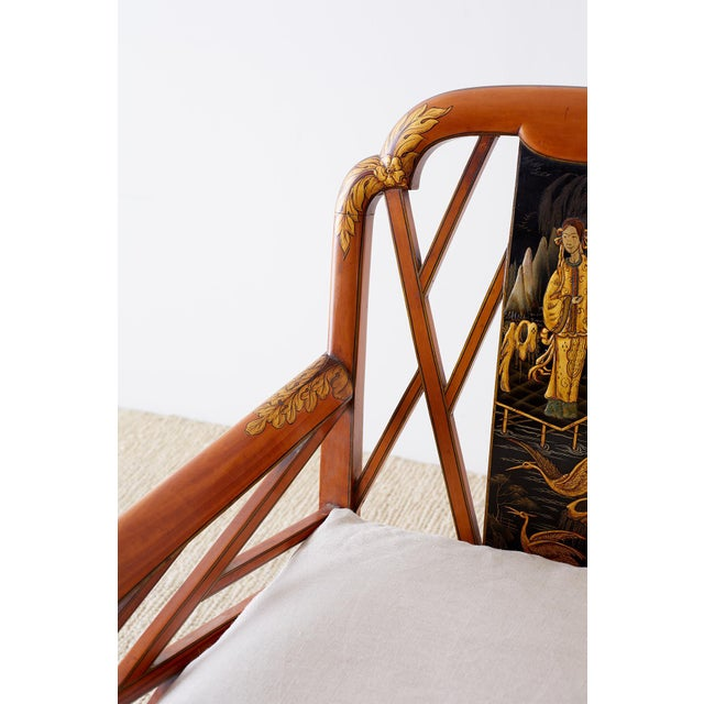 English Chinoiserie Chippendale Style Lacquered Armchair For Sale In San Francisco - Image 6 of 13