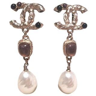 Chanel Silver CC Logo Teardrop Pearl Dangle Earrings For Sale