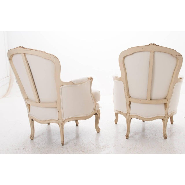White 19th Century French 19th Century Louis XV Painted Bergères - a Pair For Sale - Image 8 of 11