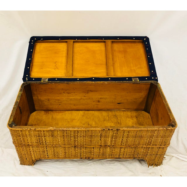 Antique Woven Bamboo Blanket Bench For Sale - Image 9 of 10