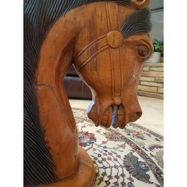 Wood Hand Carved Horse Head Coffee Table For Sale - Image 7 of 13