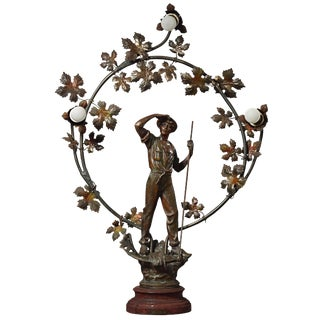 Late 19th Century Antique French Le Moissonneur Figural Table Lamp For Sale