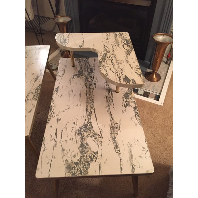 Mid-Century Formica Marble End Tables - A Pair - Image 5 of 10