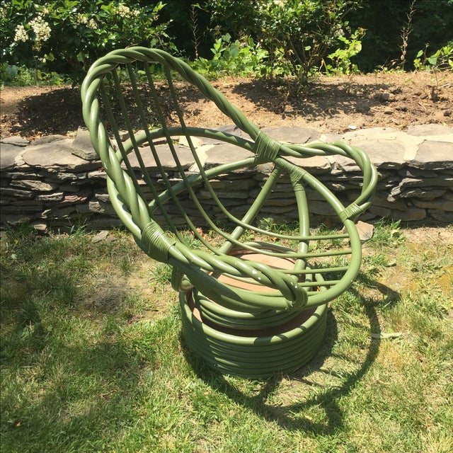 Vintage Olive Twist Rattan Swivel Rocking Chair For Sale - Image 7 of 10
