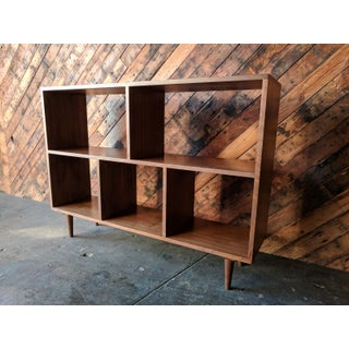 Custom Mid Century Style Walnut Book Record Shelf Preview