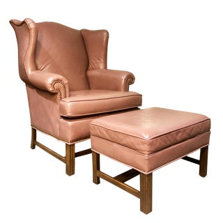 Vintage Mauve Leather Wing Back Lounge Chair With Ottoman by Ethan Allen For Sale
