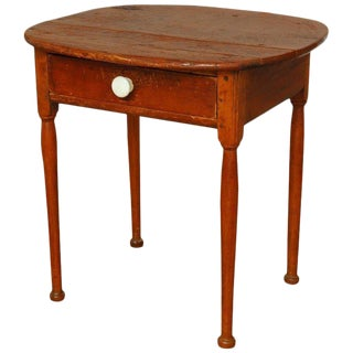 19th Century English Pine Farmhouse Table With Drawer For Sale