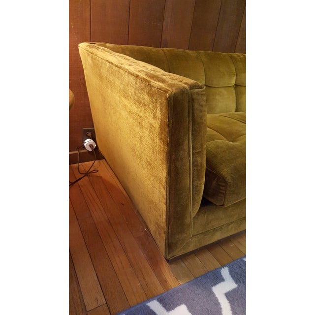 Mid-Century Modern Citron Yellow Velvet Tufted Sofa For Sale In Baltimore - Image 6 of 12