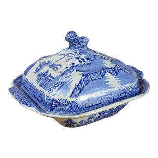 19th Century Blue Willow Lidded Square Bowl