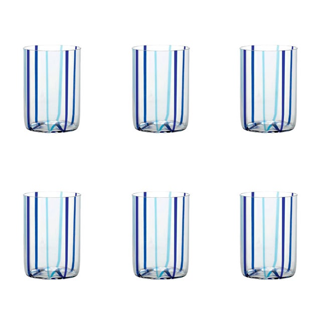 Contemporary Tirache Tumbler in Aquamarine & Blue - Set of 6 For Sale - Image 3 of 3