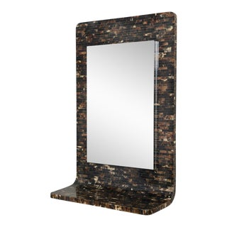 Tessellated Horn Wall-Mounted Console Mirror For Sale