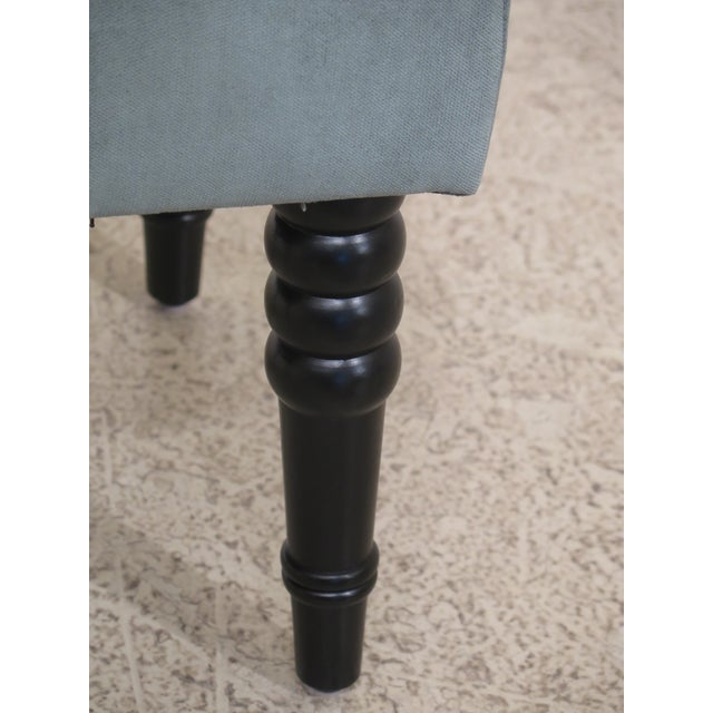 Tufted Upholstered Stool With Teal Fabric For Sale - Image 4 of 6