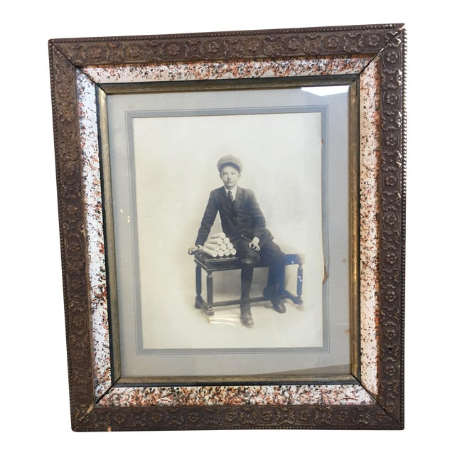 Vintage Framed Photograph of Boy, Circa 1915 For Sale