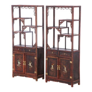 Antique Chinoiserie Display and Storage Bookcases/Cabinets - a Pair For Sale