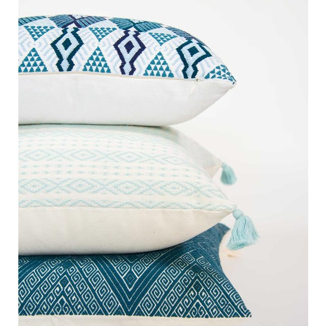 Mexican Serenity Blue Handwoven Pillow - Image 3 of 7
