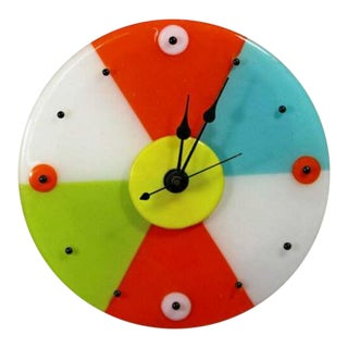 Contemporary Modernist Round Colorful Glass Wall Clock by Ruth Siegel 1990s For Sale