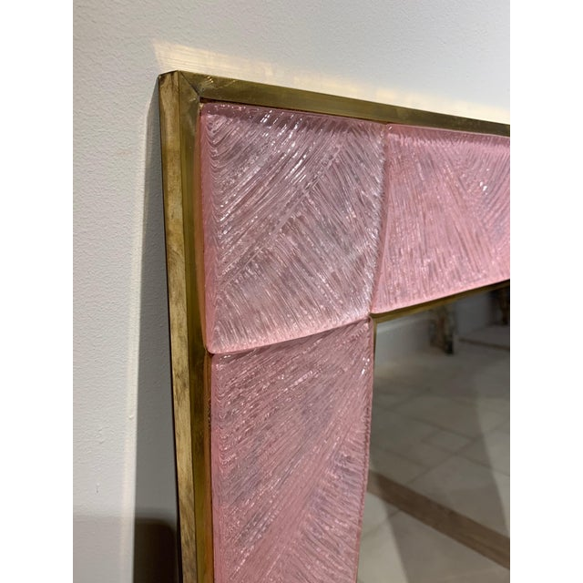 Metal Early 21st Century Modern Pink Murano Glass and Brass Mirror For Sale - Image 7 of 9
