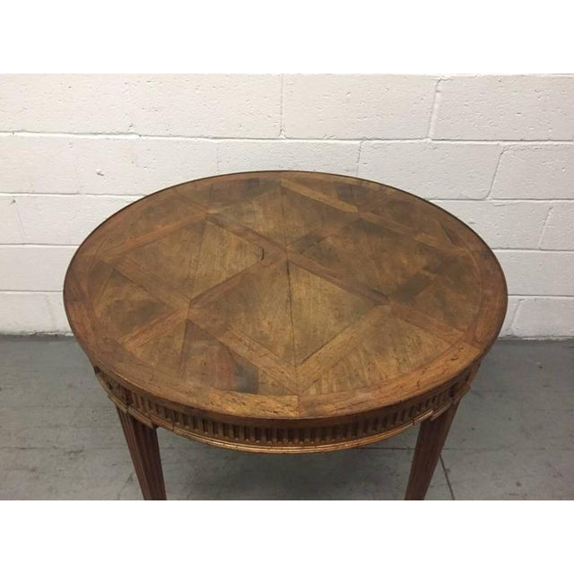 French French Parquetry Top Walnut Center Table For Sale - Image 3 of 8