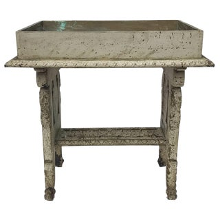 Distressed Vintage Table With Mirrored Top
