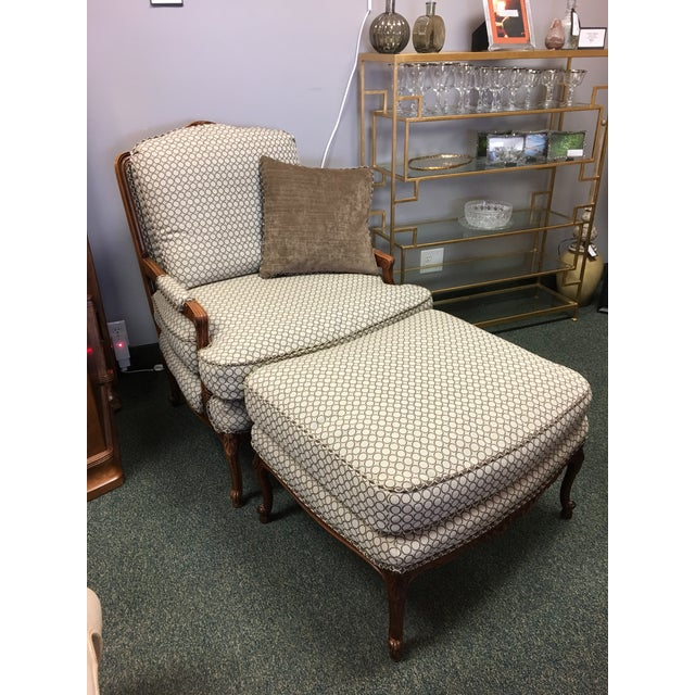 French Country Baker Upholstered Chair & Ottoman - Image 7 of 10