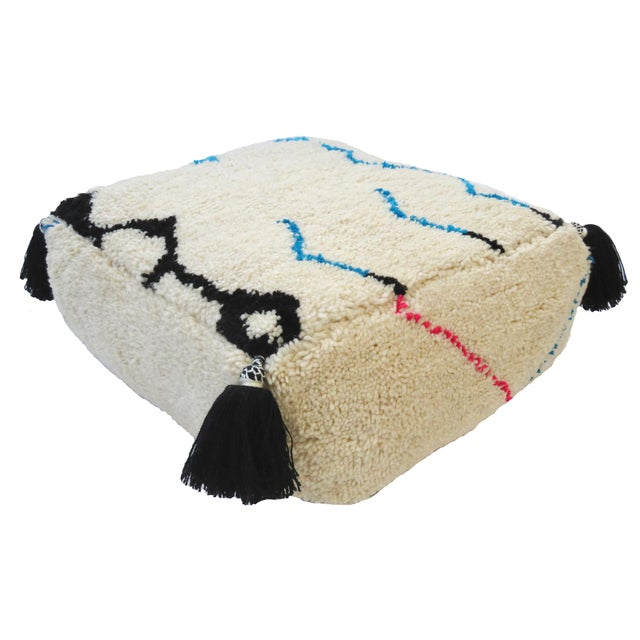 Berber Tribes of Morocco Oversized Moroccan Floor Pouf For Sale - Image 4 of 7