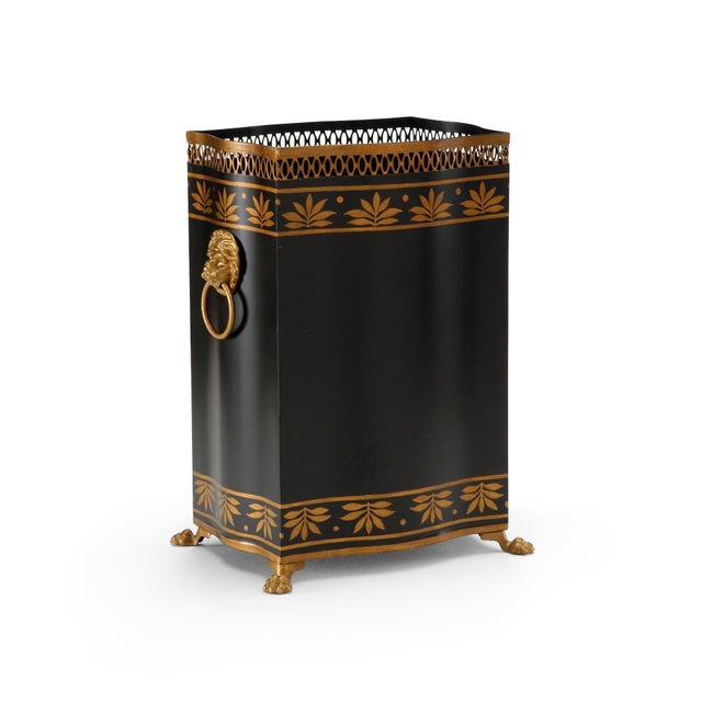 Hand painted black and gold Carlton wastebasket