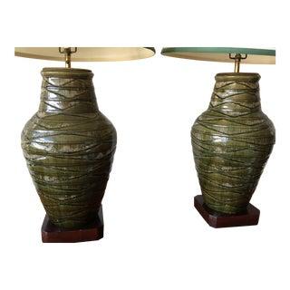 Pair of Impressive Thai Celadon Green Porcelain Crackle Lamps