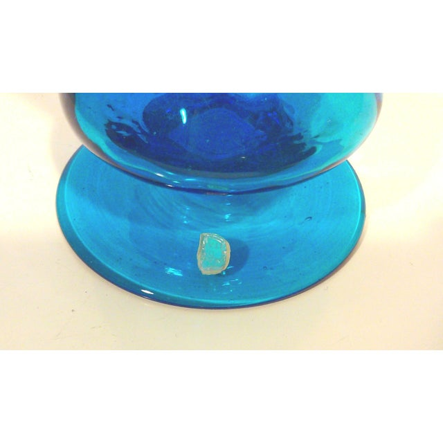 Italian Azure Blue Footed Vases - Pair - Image 7 of 8