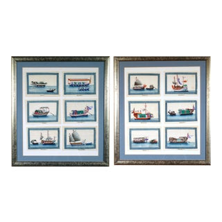 China Trade Miniature Watercolor Pictures of Junks and Sampans on Pith Paper For Sale
