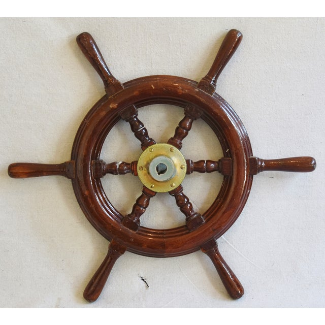 1950s Nautical Wood & Brass Ship's Wheel - Image 3 of 9