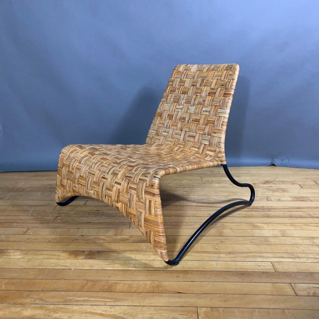 Continental Woven Cane and Blackened Steel Lounge Chair For Sale - Image 12 of 12