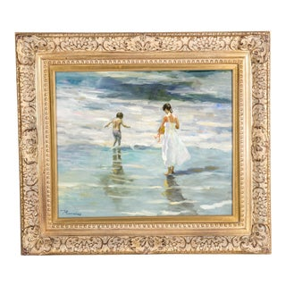 Mid-20th Century Oil on Canvas Painting with Giltwood Frame For Sale