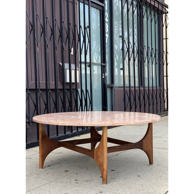 Rose Marble Top With Walnut Base Coffee Table For Sale - Image 4 of 13