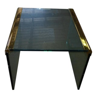 Pace Collection by Leon Rosen Vintage Brass & Glass End Table Coffee Table For Sale