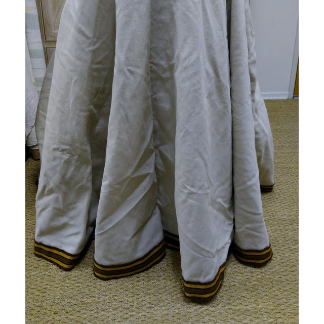 """2010s 96"""" Gold Trim Linen Lined Table Cloth For Sale - Image 5 of 10"""