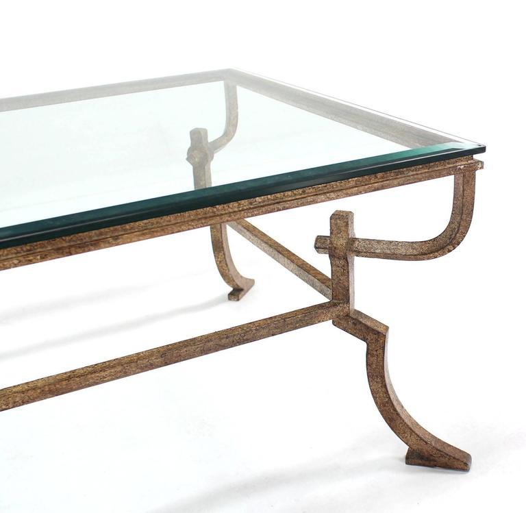 Heavy Wrought Iron Studio Work Base Glass Top Coffee Table   Image 8 Of 8
