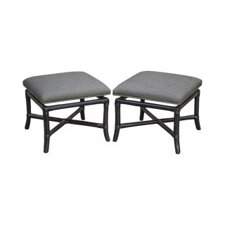 Custom Black Bamboo Square Stools Benches - a Pair For Sale