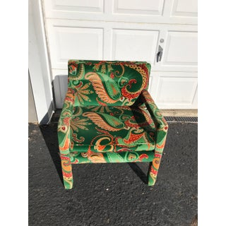 1980s Vintage Velvet Paisley Parsons Chair Preview