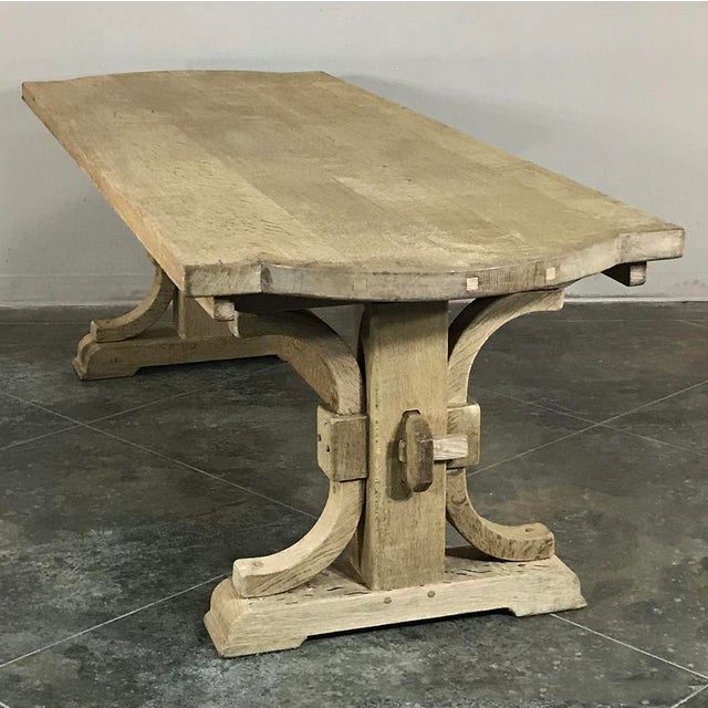 Antique Country French Provincial Stripped Oak Trestle Table is as sturdy as they come! This is a table your family will...