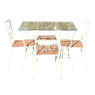 Vintage French Victorian Wrought Iron Flower Garden Patio Dining Set - 5pc Set For Sale