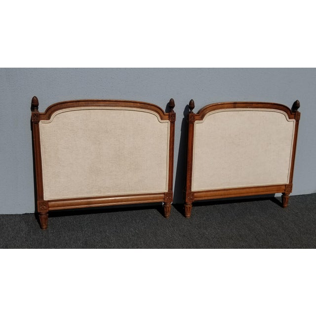 French Country Pair of Vintage French Country Tan Twin Headboards Low Profile For Sale - Image 3 of 13