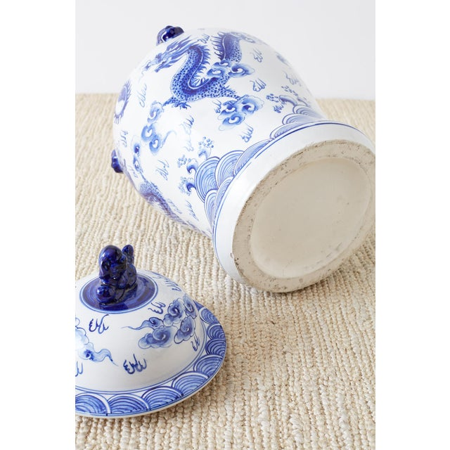 Oversized Chinese Blue and White Porcelain Ginger Jar For Sale - Image 12 of 13